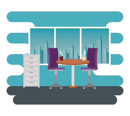 hot coffee cups in the table with chairs and file cabinet to business office, vector illustration Zdjęcie Seryjne - 129826131
