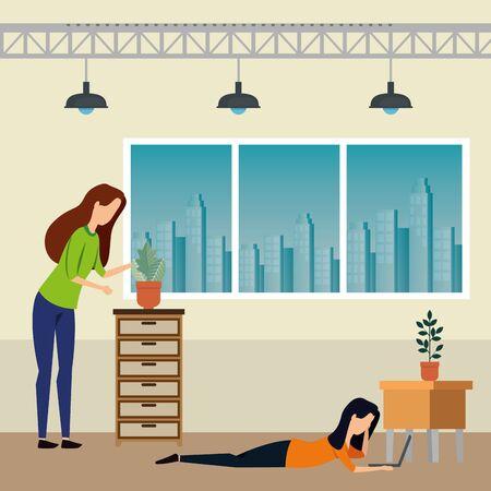 elegant businesswomen workers in the office vector illustration design