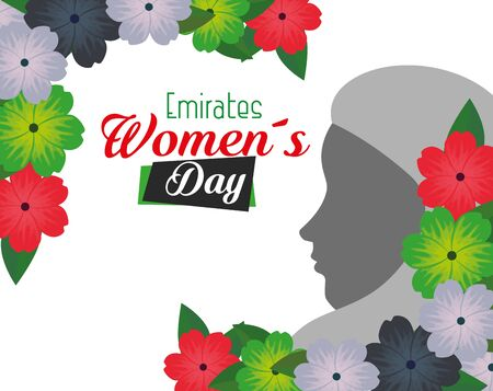woman silhouette with flowers and leaves design to emirates womens day, vector illustration
