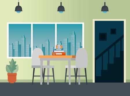 camera and books data with table and chairs in the business office, vector illustration Çizim