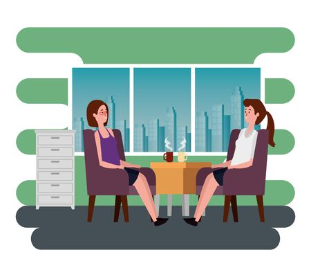 businesswomen drinking hot coffee cup and sitting to office work, vector illustration