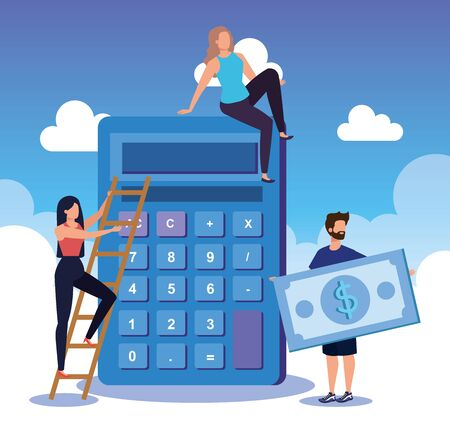 businesswomen and businessman with calculator and bill money with clouds, vector illustration