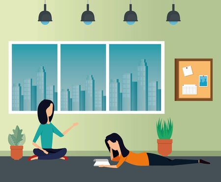 businesswomen reading book with plants and noteboard to business office, vector illustration Zdjęcie Seryjne - 129830726