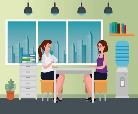 businesswomen teamwork sitting in the chair with file cabinet to office work, vector illustration Фото со стока - 129830727