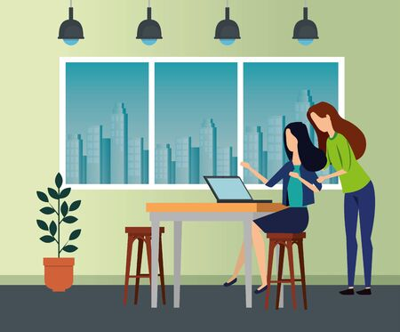 businesswomen with laptop in the desk and chairs with lights to business office, vector illustration
