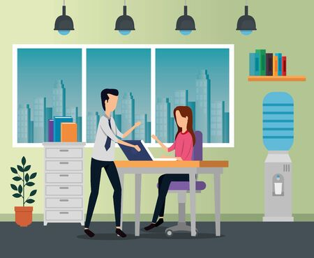 businesswoman and businessman with lap in the desk and chair to business office, vector illustration