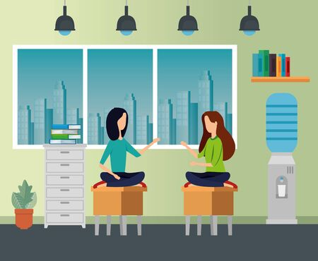 businesswomen sitting in the chairs with file cabinet and books to business office, vector illustration Çizim