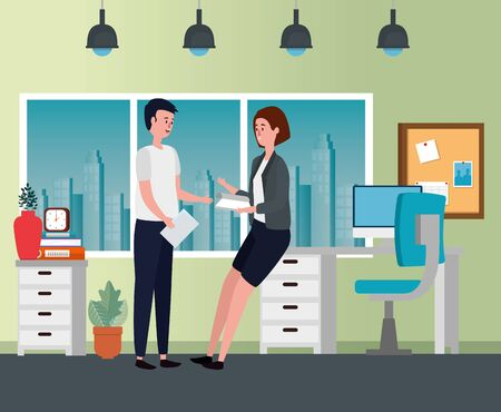 businesswoman and businessman teamwork with file cabinet and computer to office work, vector illustration