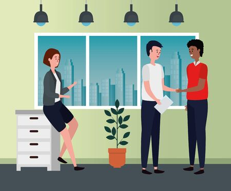 businesswoman and businesswomen teamwork with file cabinet and plant to office work, vector illustration