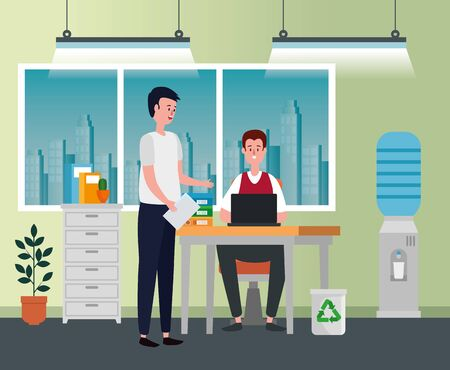 businessmen teamwork with laptop technology report to office work, vector illustration Çizim