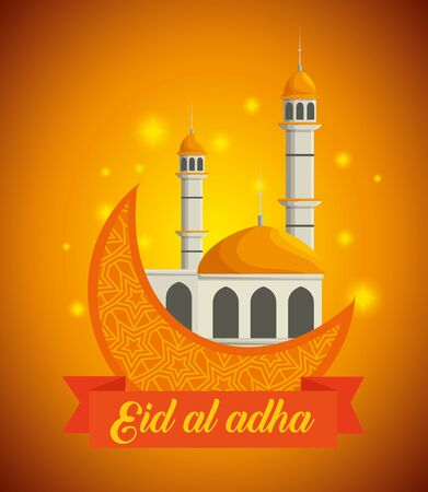 castle arcchitecture with moon and ribbon design to eid al adha, vector illustration Stock fotó - 129830557