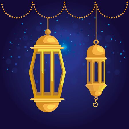 lamps hanging with traditional festival decoration to eid al adha, vector illustration