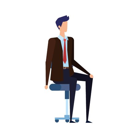 elegant businessman worker seated in office chair vector illustration design Çizim