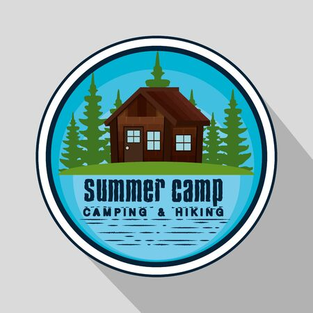 label of cabin and nature pines trees to wanderlust adventure vector illustration Иллюстрация