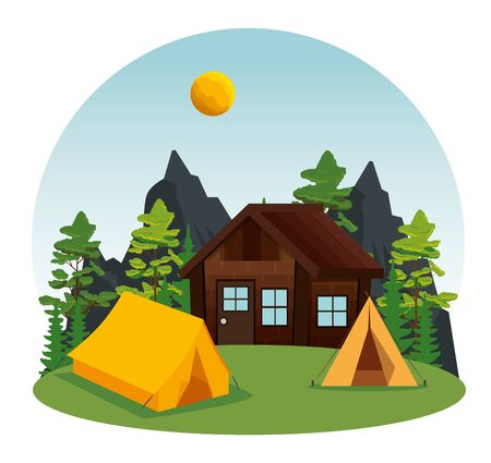 cabin and camp with nature landscape explore to wanderlust adventure vector illustration Иллюстрация