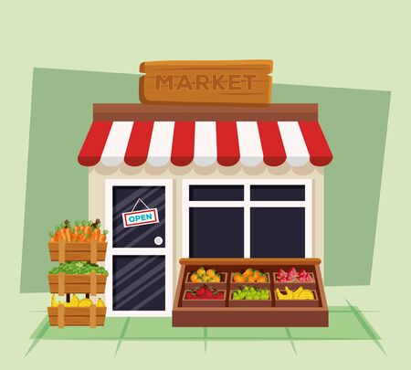 healthy vegetables and fruits products organic to natural store, vector illustration Ilustrace