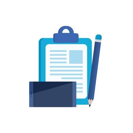 Checklisten-Zwischenablage mit Smartphone-Gerät-Vektor-Illustration-Design