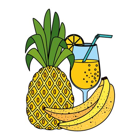 summer fresh fruit pineapple with cocktail and bananas vector illustration design