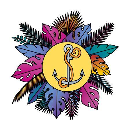 cornice circolare estiva con disegno di illustrazione vettoriale di ancoraggio marino e foglie Vettoriali