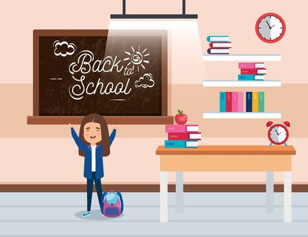 girl student with blackboard and books in the classroom to back to school vector illustration Çizim