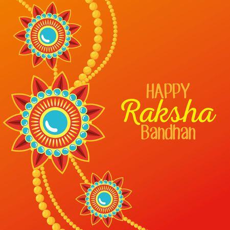 poster of flowers bracelet hindu decoration to raksha bandhan, vector illustration