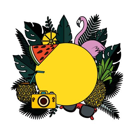 summer circular frame with camera and flemish vector illustration design