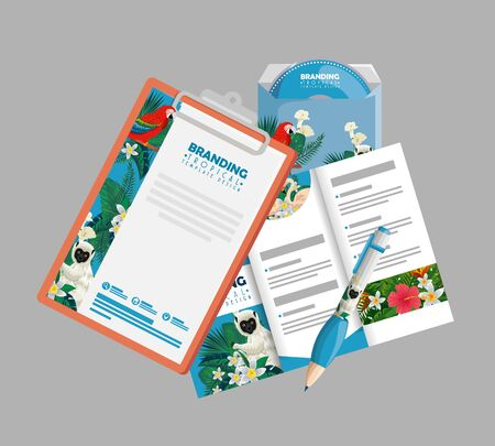 tropical clipboard with business brochure and paper vector illustration