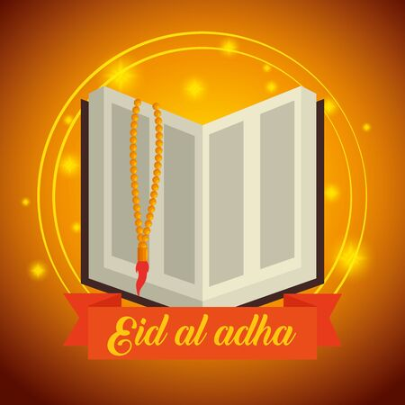 religion bible with rosary and ribbon decoration to eid al adha, vector illustration
