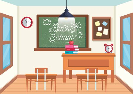 education classroom with blackboard and desks with note board to back to school vector illustration Çizim