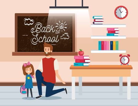 father with girl student with blackboard and books in the classroom vector illustration