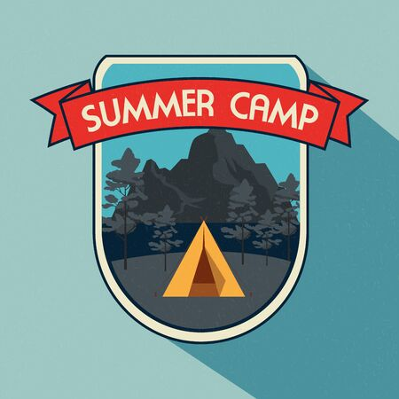 label of camp with nature trees and mountains to wanderlust adventure vector illustration  イラスト・ベクター素材