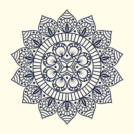 mandala flower with ornamental decoration design over white background, vector illustration