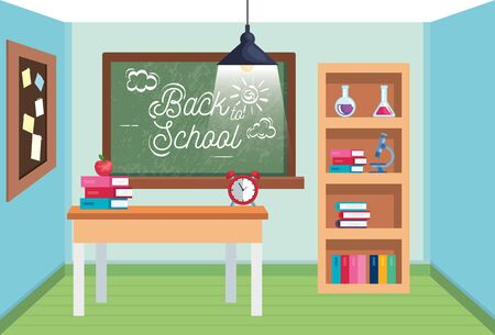 classroom with blackboard and desk with books and apple o back to school vector illustration