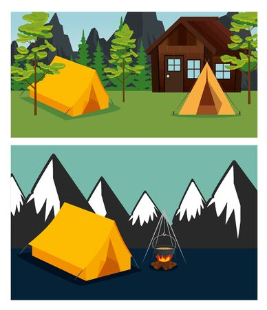 set of cabin and camp with trees and mountains to summer adventure vector illustration 写真素材 - 129861621