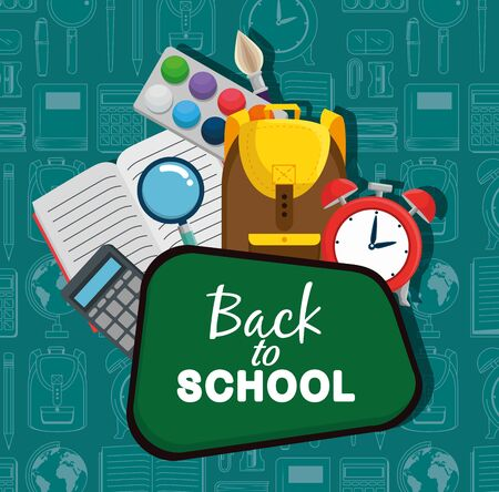 blackboard with watercolor and backpack with clock alarm to back to school vector illustration Illusztráció