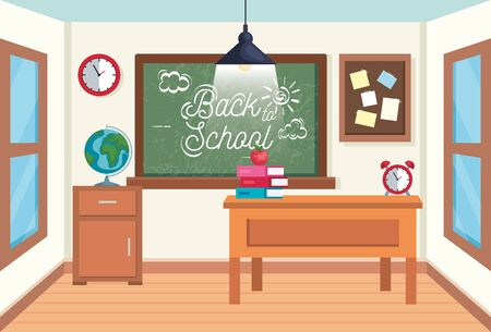 classroom with blackboard and note board with books and apple to back to school vector illustration