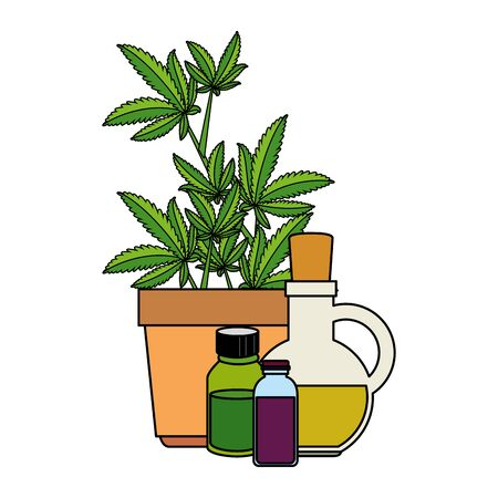 cannabis plant in pot with bottles products vector illustration design