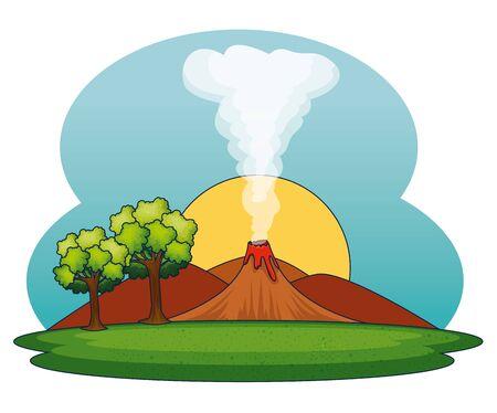 sol con humo de volcán y montañas con árboles a la ilustración de vector de paisaje de naturaleza