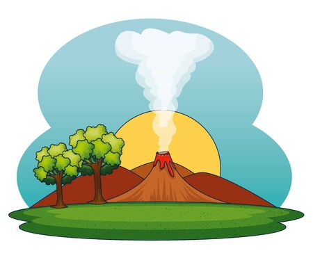 sun with volcano smoke and mountains with trees to nature landscape vector illustration