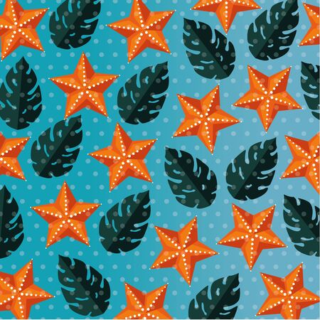 tropical leaves plants with exotic starfish to summer time vector illustration Ilustracje wektorowe