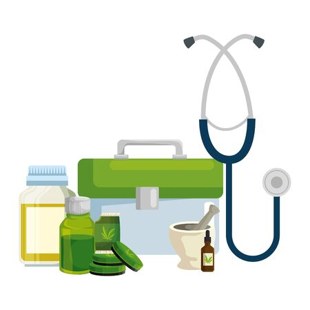 medical kit and stethoscope with cannabis products vector illustration design