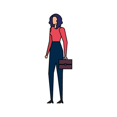 elegant businesswoman worker with portfolio character vector illustration design 스톡 콘텐츠 - 129831158