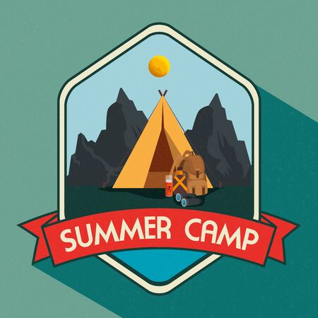 label of nature mountains landscape with camp and ribbon to summer adventure vector illustration Stockfoto - 129861720