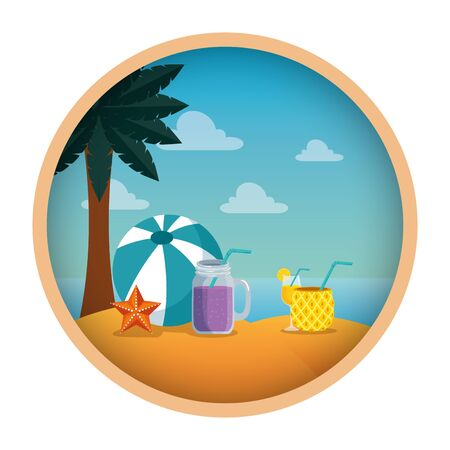 summer beach seascape with cocktails and balloon vector illustration design  イラスト・ベクター素材