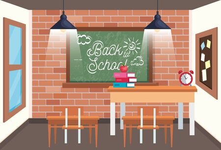 classroom with blackboard and desk with apple and books to back to school vector illustration Ilustrace