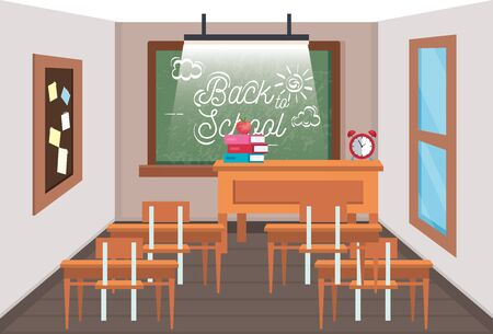 education classroom with blackboard and note board to back to school vector illustration