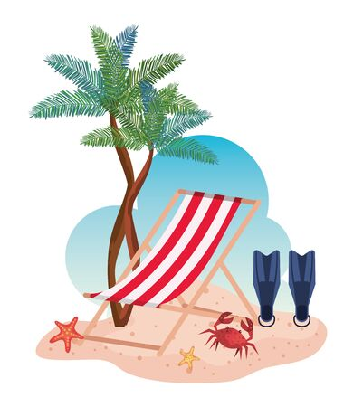 tanning chair with fin water equipment and palms trees to summer time vector illustration Illusztráció