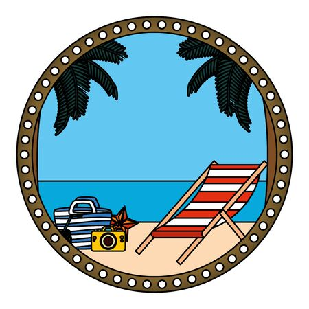 circular frame with summer beach and chair vector illustration design