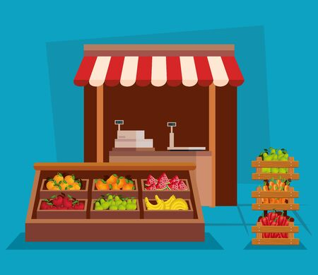 healthy vegetables and fruits organic nutrition to natural store, vector illustration