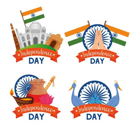 set of india labels decoration holiday to independence day vector illustration
